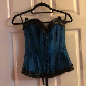 Adore Me teal satin corset, NWOT